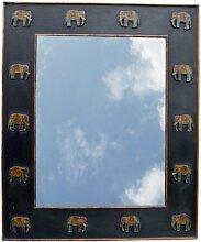Guru-Shop Spiegel mit Elefantenrahmen Schwarz,