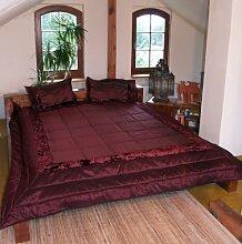 Guru-Shop Steppdecke, Tagesdecke Bettüberwurf mit 2 Dekokissen - Bordeaux, Braun, Baumwolle, 245x216 cm, Steppdecken, Quilts