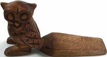Guru-Shop Türstopper aus Holz - Eule, 11x22x6,5 cm, Türstopper & Buchstützen
