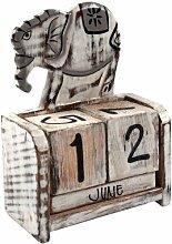 Guru-Shop Würfelkalender `Elefant`, 11x10x7 cm,
