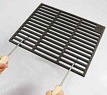 Gusseisen runde + eckige Grillroste viele Größen + Griffe Grillclub® Grill für Weber Gasgrill Holzkohle (67 x 40 cm + 2 Griffe)