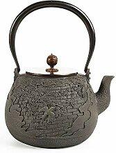 Gusseisen-Teekanne, grauer Teekessel mit