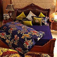 Gute qualität 100% Baumwolle vier stück doppel-bett-blatt decke cover gorgeous garten american european style bettwäsche set-A Queen2