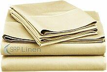Gute Qualität Weich und voller Freude 4PCS Bed Sheet Set (massiv–alle Farben) Fadenzahl 400, (Deep Pocket–38,1cm Zoll) alle Größen 100% ägyptische Baumwolle –, SRP Leinen, baumwolle, cremefarben, Euro Single