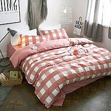 Gute qualität100% baumwolle four piece doppel-bett-blatt decke cover gorgeous garten stil rot weiß lattice bettwäsche-B Queen2