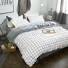 Gute qualität100% baumwolle four piece doppel-bett-blatt decke cover gorgeous garten stil rot weiß lattice bettwäsche-A Queen2