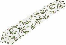 GuyIvan Tischläufer kleine Blumen grüne Blätter