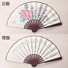 GUYOUYY Faltfächer Faltbarer Fächer 8 Zoll/10 Zoll/chinesische klassische Kalligraphie und Malerei Poesie Fan/doppelseitiges Tuch Männer manuelle Lüfter,Khaki 10,5 Zoll weiß