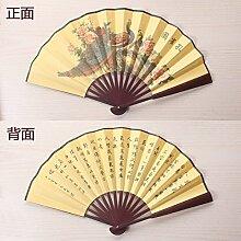 GUYOUYY Faltfächer Faltender Ventilator 8 Zoll/10 Zoll/chinesische klassische Kalligraphie und Malerei Poesie Fan/doppelseitiges Tuch Männer manuelle Fan,Peacock Figur 10,5 Zoll gelb