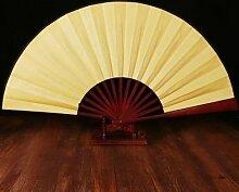 GUYOUYY Faltfächer Folding Fan/portable hölzerne Männer Leistung handgemachte hölzerne Klappfächer/chinesischen Stil Wandbehang leer,rein gelb 13 Zoll