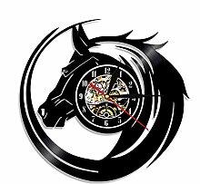 guyuell 1 Piece Black Horse Design Wanduhr aus