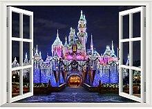 Guyuell 3D Alte Prinzessin Schloss Fenster Ansicht