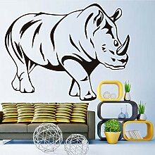 Guyuell Rhinoceros Wandaufkleber Schwarz Gedruckt