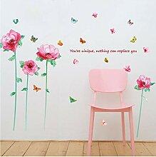Guyuell Rosa Blume Schmetterling Wandaufkleber