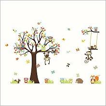 Guyuell Schöne Affen Baum Wandaufkleber Für