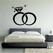 Guyuell Wand Vinyl Aufkleber Hochzeit Ringe