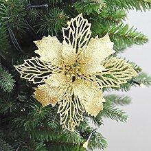 GWDZX Christbaumkugel Weihnachtsblume 15cm Christbaumschmuck Simulationsblumendekoration Partydekoration Eine Packung Mit 5,Gold-15cm