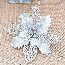 GWDZX Christbaumkugel Weihnachtsblume 15cm Christbaumschmuck Simulationsblumendekoration Partydekoration Eine Packung Mit 5,Silver-15cm