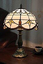 Gweat 12-Zoll-Weinlese-Pastoral Buntglas Tiffany Tischlampe Schlafzimmer Lampe Nachttischlampe