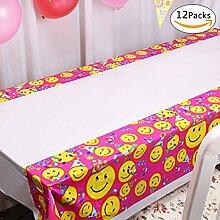 GWELL 12er Pack Emoji Tischdecke Eckig Einweg PVC