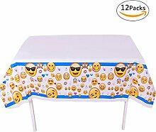 GWELL 12er Pack Emoji Tischdecke Eckig Einweg Tischtuch für Kinder Geburtstag Party Feier Tischdeko 180×100cm Blau