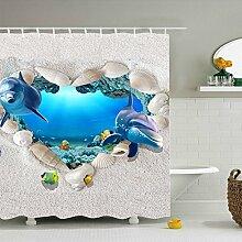 GWELL 3D Muster Duschvorhang Wasserdicht