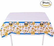 GWELL 8er Pack Emoji Tischdecke Eckig Einweg Tischtuch für Kinder Geburtstag Party Feier Tischdeko 180×100cm Blau