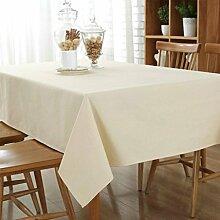 GWELL Baumwolle Tischdecke Eckig Abwaschbar Tischtuch Pflegeleicht Schmutzabweisend Farbe & 6 Größe wählbar beige 140*200cm