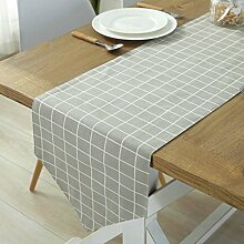 GWELL Baumwolle Tischläufer Mitteldecke Tischband Tischdecke 35x220 cm grau karo