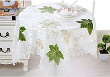 GWELL Blatt Spitze Rund Elegant Tischdecke Abwaschbar Tischtuch Pflegeleicht Dekorationen Haus Staubdicht 7 Farbe & 4 Größe wählbar grün 130*130cm