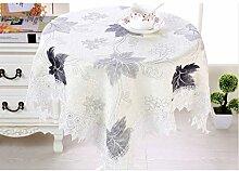 GWELL Blatt Spitze Rund Elegant Tischdecke Abwaschbar Tischtuch Pflegeleicht Dekorationen Haus Staubdicht 7 Farbe & 4 Größe wählbar grau 130*130cm