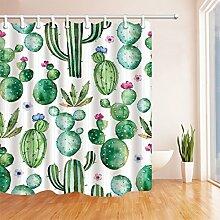 GWELL Duschvorhang Kaktus Wasserdicht