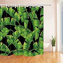 GWELL Duschvorhang Pflanzen Wasserdicht 12 Duschvorhangringe Anti-Schimmel für Badezimmer Muster-E 180x180cm