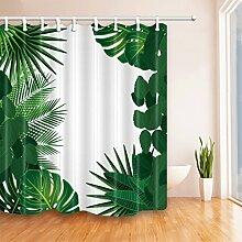 GWELL Duschvorhang Pflanzen Wasserdicht 12 Duschvorhangringe Anti-Schimmel für Badezimmer Muster-D 180x210cm