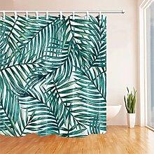 GWELL Duschvorhang Pflanzen Wasserdicht 12 Duschvorhangringe Anti-Schimmel für Badezimmer Muster-G 180x180cm