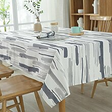 GWELL Elegant Streifen Tischdecke Eckig Segeltuch Tischtuch Pflegeleicht Schmutzabweisend Tischwäsche grau 140*220cm