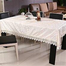 GWELL Elegant Vintage Satin Eckig Tischdecke Abwaschbar Tischtuch Pflegeleicht Haus Dekorationen weiß 130*180cm