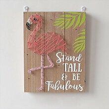GWELL Flamingo LED Wandlicht Holz Batteriebetrieb