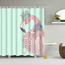 GWELL Flamingo Muster Duschvorhang Wasserdicht