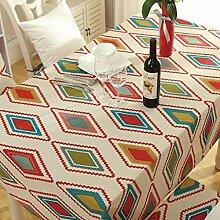 GWELL Frische Farbe Tischdecke Eckig Abwaschbar Tischtuch Pflegeleicht Schmutzabweisend 7 Farbe & Größe wählbar Geometrie 140*220cm