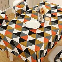 GWELL Frische Farbe Tischdecke Eckig Abwaschbar Tischtuch Pflegeleicht Schmutzabweisend 7 Farbe & Größe wählbar orange Karos 140*220cm