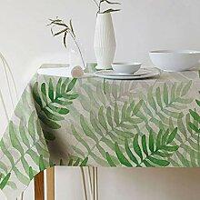 GWELL Grüne Pflanze Tischdecke Leinen Tischtuch