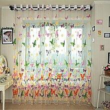 GWELL Kinderzimmer Schmetterling Voile Vorhang mit