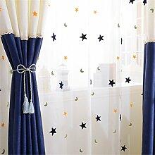 GWELL Kinderzimmer Stern Mond Voile Vorhang