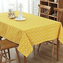 GWELL Leinen Tischdecke Eckig Abwaschbar Tischtuch Pflegeleicht Schmutzabweisend 7 Farbe & 10 Größe wählbar gelb 140*180cm