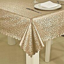 GWELL Luxus Wachstuch Tischdecke Tischtuch Abwaschbar Wasserdicht Schmutzabweisend Esstisch Couchtisch Dekorationen gold 140x200cm