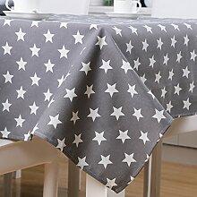 GWELL Premium Sterne Tischdecke Eckig Dick Segeltuch Tischtuch Pflegeleicht Schmutzabweisend Tischwäsche grau 140*220cm