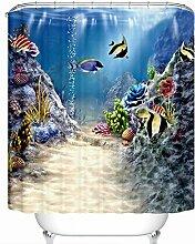 GWELL Seaworld Kinder 3D Cartoon Duschvorhang
