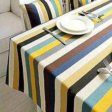 GWELL Segeltuch Tischdecke Streifen Eckig Abwaschbar Tischtuch Pflegeleicht Baumwolle Dekorationen Staubdicht 5 Größe wählbar 145*220cm
