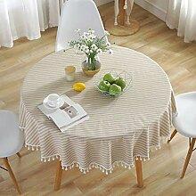 GWELL Streifen Rund Tischdecke Baumwolle Tischtuch